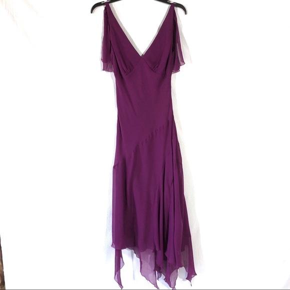 84b7ffd8b51 Nicole Miller Purple Silk Handkerchief Dress